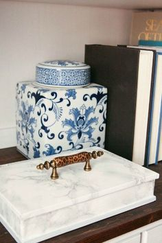 s 19 random thrift store finds become outrageously awesome decor, home decor, repurpose household items, repurposing upcycling, Faux Book to Faux Marble Box After