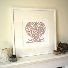 Romantic Folk Art Inspired March Hares Heart by glynwestdesign, £28.00
