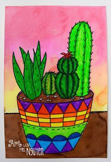 Beautiful!  Lots of fun shapes on the vibrant pots too.  Art with Mrs. Nguyen: Succulent Garden Still Lifes (5th)