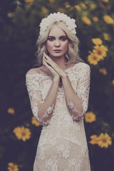 Bring a long sleeve lace gown into spring or summer by adding floral elements like a silk halo. - BHLDN Stylists | photo by Julia Trotti | image via: Julia Trotti