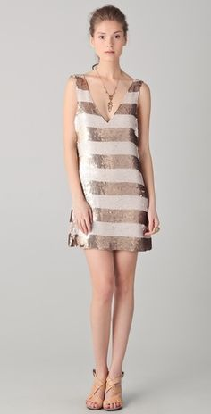 Gorgeous dress. I love this so much. Wide Striped Sequin V Neck Dress