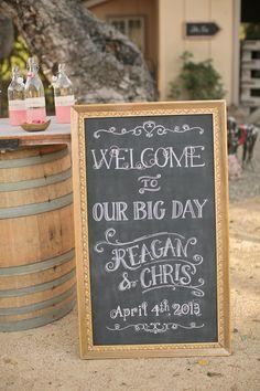 Chalkboard #welcome sign  Photography: www.carliestatsky.com   Styling: www.engagedandinspired.com   Floral Design: www.floraltheory.com