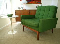 Alexander Girard fabric on a vintage Knoll chair.