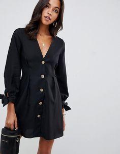 83f093e93f ASOS DESIGN button through mini skater dress with tie sleeves | ASOS  Reclutamento Di Sorority,