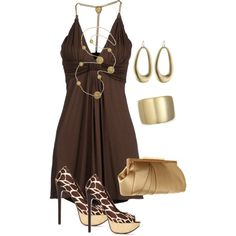 """Short Brown Dress"" by missyalexandra on Polyvore"