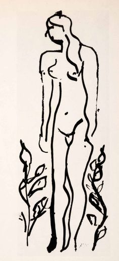 1969 Photolithograph Henri Matisse Chinese Ink Sketch Nude Woman Bush XDB7