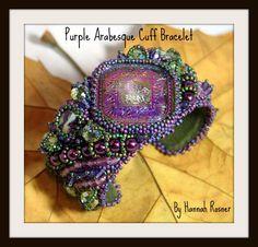 Bead Embroidered Cuff Bracelet - Purple Arabesque. $280.00, via Etsy.