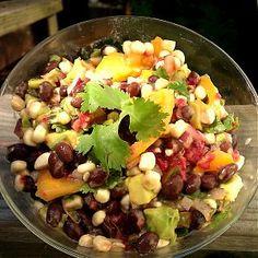 Corn, avocado and Black Bean Salad with Raspberries