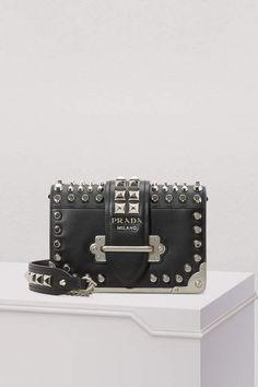 Prada Cahier crossbody bag - black studded Prada handbag designer purse  with studs Prada Cahier Bag 5bab010c8db45