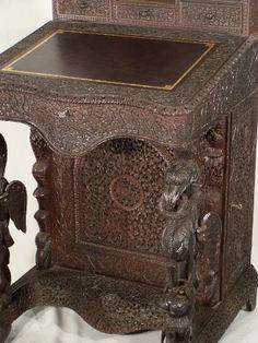 Anglo Indian Carved rosewood Davenport desk India