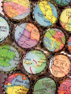Custom Vintage mappa bottiglia tappo magneti città stati paesi mondo locale mappe