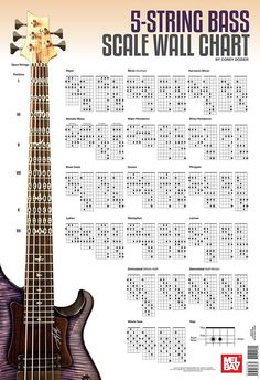 Bass Guitar Scales Wall Charts - Few recommended bass guitar scales wall charts that can be helpful for referencing and learning bass scales Guitar Scales Charts, Bass Guitar Scales, Bass Guitar Notes, Bass Guitar Chords, Learn Bass Guitar, Music Theory Guitar, Bass Guitar Lessons, Music Guitar, Playing Guitar