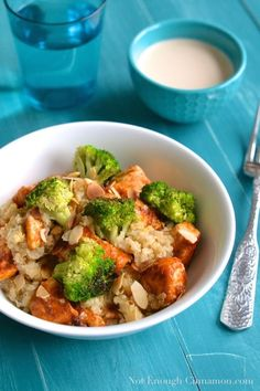 Chicken and Broccoli Quinoa Salad with Tahini Dressing | notenoughcinnamon.com #glutenfree #healthy #dinner