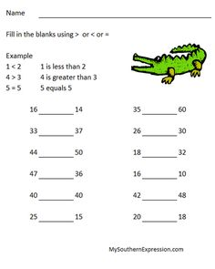 2nd Grade Math Worksheets Greater Than Less Than Equal to #2ndgrademathworksheet: http://mysouthernexpression.com
