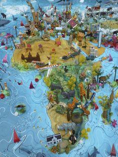 Sara Drake - World Map - Africa and Europe detail - saradrake.com