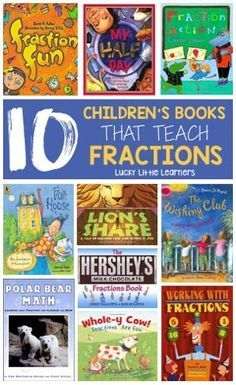 10 Children's Books That Teach Fractions.this post is great and also includes resources written for teachers to teach fractions! The teacher author who wrote the fraction resources has her master's degree in elementary mathematics. Teaching Fractions, Math Fractions, Teaching Math, Teaching Ideas, Teaching Supplies, Dividing Fractions, Equivalent Fractions, Math Literature, Math Books