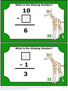 Missing Addends Subtraction First Grade Math Activities: You will receive 26 subtracting task cards, 26 matching game cards, 2 cut and paste worksheets, creating equations activity, quiz. student response forms and answer keys.