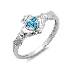 Promise Irish Love And Friendship Band Claddagh Heart Shape Ring 0.15... ($139) ❤ liked on Polyvore featuring jewelry, rings, white, white ring, blue topaz heart ring, white gold jewelry, heart ring and blue topaz rings