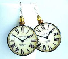 LONDON clock Earrings Handmade decoupage with by ShoShanaArt, $22.00