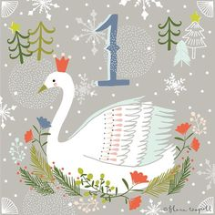 Christmas Advent, Swan Illustration by Flora Waycott at florawaycottdesign Noel Christmas, 12 Days Of Christmas, Christmas Countdown, Christmas Design, Christmas Greetings, Vintage Christmas, Christmas Crafts, Winter Christmas, Happy December