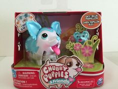 Chubby Puppies & Friends SUPER RARE Sky Blue Papillon & friend NEW #SpinMaster