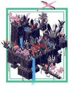 L'île du Tigre on Behance Ballpoint Pen, Behance, Photoshop, Wreaths, Halloween, Illustration, Movie Posters, Color, Art