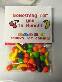 "Retro Arcade Party - ""Something for you to Munch"" party favor treat with Runts candy! Free Printable"