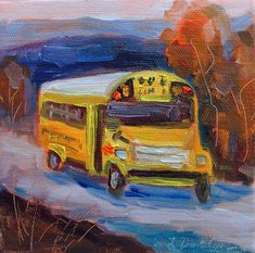 "School Bus, School Bus Painting, Yellow School Bus, Original Oil Painting. Mini Oil Painting, stretched canvas, 5""x5""x1.5"", Gift Item"
