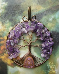 """Home of the Purple Fae"" An Amethyst Tree of Life pendant with a hand-carved little clay fairy door. Enjoy everyone! Etsy link: https://www.etsy.com/listing/183485069/fairy-house-amethyst-tree-of-life-wire?ref=shop_home_active_1"