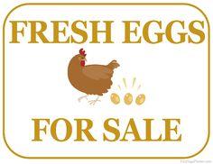 Printable Fresh Eggs For Sale Sign