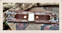 Women's Leather watch cuff bracelet with silver watch by TornTo
