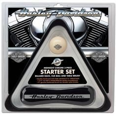 Harley-Davidson Midnight Chrome Billiard Starter Set: H-D® Midnight Chrome Starter Set includes a Rack, Cue Ball, and Table Brush. Pool Table Cloth, Pool Table Covers, Pool Table Accessories, Billiard Accessories, Man Cave Inspiration, Billiards Game, Billiard Pool Table, Game Room Bar, Harley Davidson Gifts