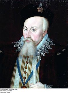 Robert Dudley,(1532-1588). Earl of Leicester, c1588, by William Segar. Elizabeth I put him in overall command of the  English Land Forces during the Spanish Armada. He rode along side her in her great speech to the troops at Tilbury. Dudley was a principle patron of the arts, literature and the theatre. He was a suitor, and close, life long friend of Elizabeth I.