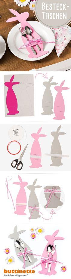 In nur wenigen Schritten könnt Ihr aus Moosgummi diese zauberhaften Bestecktaschen für die Ostertafel anfertigen. Wie die hübschen Osterhasen genau gebastelt werden, zeigen wir Euch wie immer im Blog (da gibt es auch die Vorlage!): http://blog.buttinette.com/basteln/bastelanleitung-bestecktaschen-fuer-die-ostertafel/ #Bestecktasche #Ostern #Tischdeko #Tischschmuck #Osterhase #Moosgummi #DIY #Tutorial #Anleitung