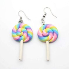 Cute Rainbow swirl Lollipop 925 Silver Earrings sold by Styleme. Shop more products from Styleme on Storenvy, the home of independent small businesses all over the world. Diy Clay Earrings, Cute Earrings, Silver Earrings, Beaded Earrings, Kawaii Jewelry, Cute Jewelry, Polymer Clay Charms, Polymer Clay Jewelry, Fimo Kawaii