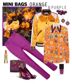 """Orange and Purple - Bright Autumn Colors"" by giovanina-001 ❤ liked on Polyvore featuring Masquerade, Petar Petrov, Coach, Gucci, 1st & Gorgeous by Carolee, Christian Louboutin, Sisley and minibags"
