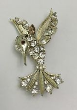 Vintage Bird Pin Brooch Rhinestone Signed Lisner