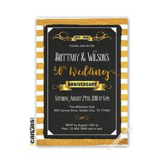 Golden Wedding Anniversary Invitation 50th Glitter Foil Gold Black Chalkboard Anniversary Party Printable or Printed with FREE SHIPPING WI09 50th Anniversary Invitations, Anniversary Parties, Golden Wedding Anniversary, Black Chalkboard, Party Printables, Rsvp, Bridal Shower, Glitter, Free Shipping