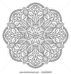 elegance hand drawn round black lace ornament, mandala, zentangle, vector illustration.