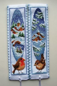 Vervaco cross stitch bookmarks-Winter Wren & Winter Robin.
