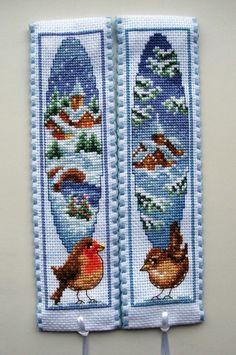 Vervaco cross stitch bookmarks-Winter Wren & Winter Robin.