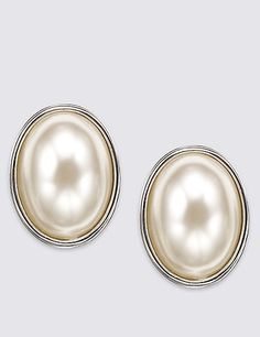 Pearl Effect Oval Clip-On Earrings | M&S