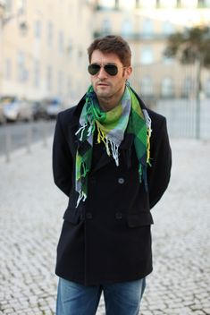 Try a scarf. Not this color but the weight and drape of the scarf similar to the ones you may have saw the men wearing in Egypt.