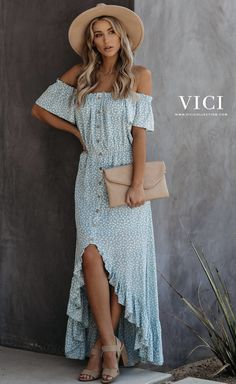 Blakely Off The Shoulder High Low Maxi Dress Boho Fashion, Spring Fashion, Fashion Outfits, Casual Dresses, Summer Dresses, Auburn, The Dress, Anna Dress, Spring Outfits
