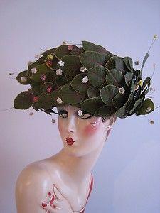 Vintage JACK McCONNELL Hat Large Leaves and Flowers all Over Hat Wide Brim