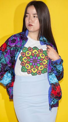This was a lot of fun to create, to experiment with shape, uniformity and colour. Garra, Flower Of Life, Mandala Design, Experiment, Chiffon Tops, Classic T Shirts, Women Wear, Shape, Colour