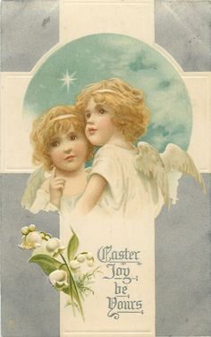 Full Sized Image: EASTER JOY BE YOURS two young angels, lily-of-the-valley - TuckDB