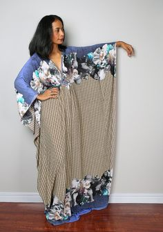 Boho Maxi Dress  Floral Kaftan Maxi Dress : Funky by Nuichan