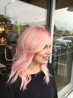 Blush pink hair. Pastel pink hair. Soft pink hair color