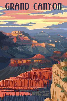 Grand Canyon National Park - Sunset View - Lantern Press Poster